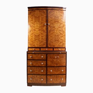 Art Deco Burr Maple Cabinet with Bookcase & Drawers