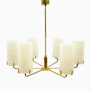 Lámpara de araña Mid-Century de latón con seis brazos