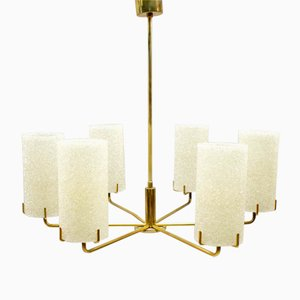 Mid-Century 6-Armed Brass Chandelier