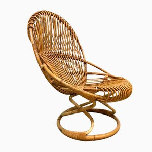 Vintage Wicker Lounge Chair by Giovanni Travasa for Pierantonio Bonacina