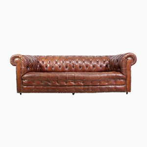 Chesterfield Vintage en Cuir Marron