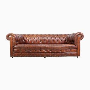 Sillón Chesterfield vintage de cuero marrón