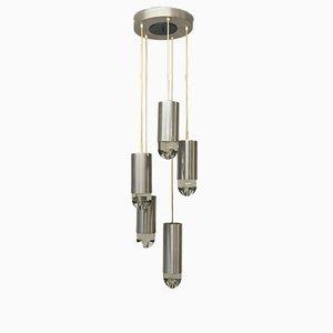 Lámpara de araña de acero cepillado y vidrio de Raak, años 60