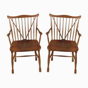 Buchenholz & Ulmenholz Windsor Stühle von Ole Wanscher für Fritz Hansen, 1944, 2er Set