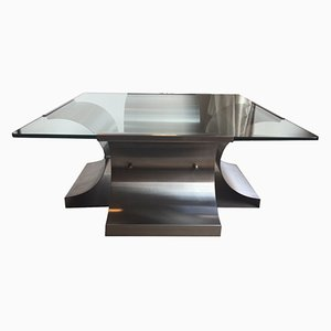 Crystal & Steel Coffee Table by Francois Monnet, 1970s
