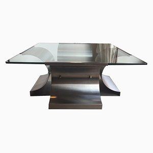 Table Basse Cristal & Acier par Francois Monnet, 1970s