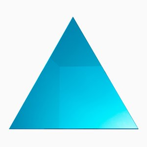 WOW Triangular Neon Turquoise Mirror by Dozen Design
