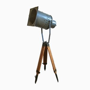 Large Vintage Gray Industrial Spotlight on Wooden Tripod