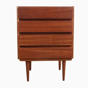 Mid-Century Walnut Nightstand with Drawers