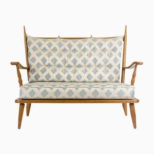 2-Sitzer Eichenholz Sofa mit Jacquard Bezug, 1960er
