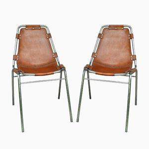 Mid-Century Chrom & Leder Les Arcs Chair von Charlotte Perriand, 2er Set