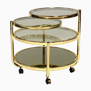Tavolino da caffè Hollywood Regency in ottone, anni '70