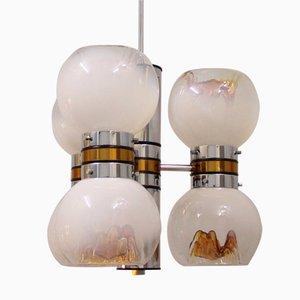 Lámpara de araña italiana era espacial Mid-Century de cristal de Murano de Mazzega