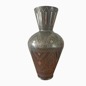 Vaso vintage persiano in peltro e color argento