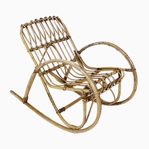 Rocking Chair pour Enfant Vintage en Rotin, Italie, 1950s