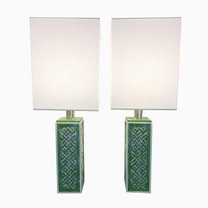 Lampes de Bureau en Laiton & Céramique, 1970s, Set de 2