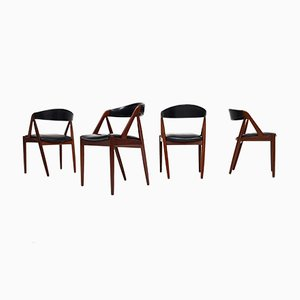 Model 31 A-Frame Dining Chairs by Kai Kristiansen for Schou Andersen, 1960s, Set of 4