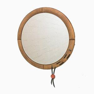 Specchio circolare con cornice in pelle, anni '60
