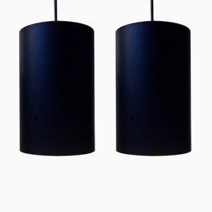 Lámparas colgantes danesas vintage en negro de Eila & John Meiling para Louis Poulsen, años 70. Juego de 2