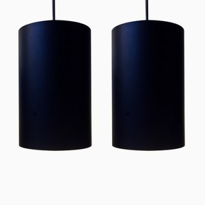 Vintage Danish Black Pendants by Eila & John Meiling for Louis Poulsen, 1970s, Set of 2