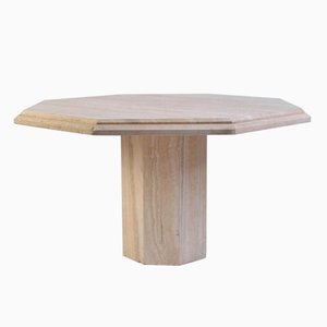 Italian Travertine Octagonal Dining Table, 1970s