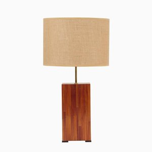 Mid-Century French Square Marquetry & Straw Lamp