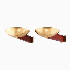 Art Deco Messing & Mahagoni Wandlampen von Eckart Muthesius, 2er Set