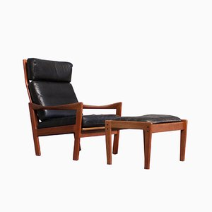 Vintage Danish Lounge Chair & Footstool by Ilum Wikkelsø for Niels Eilersen
