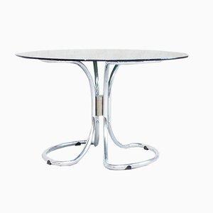 Mesa de comedor italiana vintage de metal cromado y vidrio ahumado de Giotto Stoppino