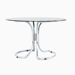 Vintage Italian Chrome & Smoked Glass Dining Table by Giotto Stoppino