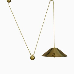 Brass Height Adjustable Pendant Lamp from WKR Leuchten, 1970s
