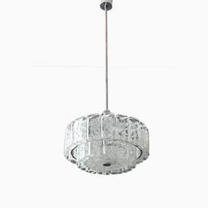 Large Mid-Century Modern Crystal Glass Chandelier from Doria Leuchten