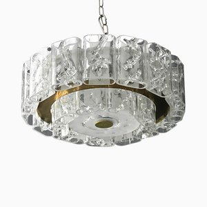 Vintage Crystal Glass Chandelier with Brass Rim from Doria