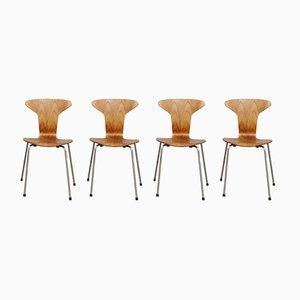 3105 Munkegaard Chairs in Teak by Arne Jacobsen for Fritz Hansen, Set of 4