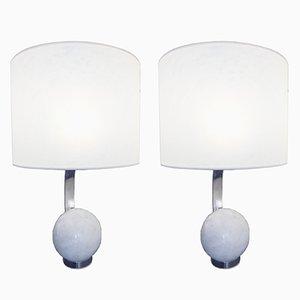 Lampes de Bureau en Marbre & Fer, 1970s, Set de 2