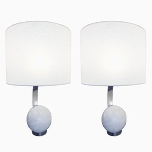 Marble & Iron Table Lamps, 1970s, Set of 2