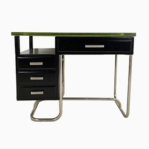 Black Lacquered Metal Desk with Thick Glass Top, 1930s
