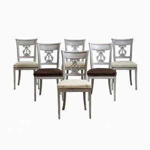 Sedie da pranzo con schienali intagliati, inizio XIX secolo, set di 6