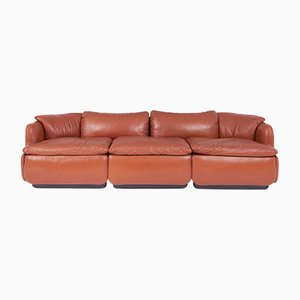 Vintage Confidential Leather Sofa by Alberto Rosselli for Saporiti Italia