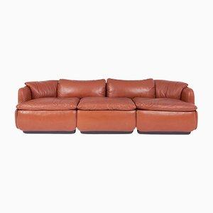 Vintage Confidential Leder Sofa von Alberto Rosselli für Saporiti Italia