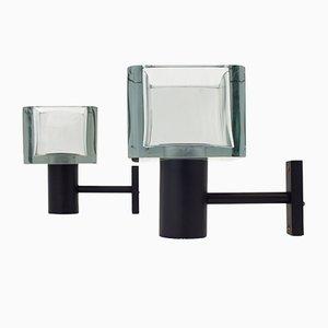 Lámparas de pared italianas de Flavio Poli para Seguso, años 70. Juego de 2