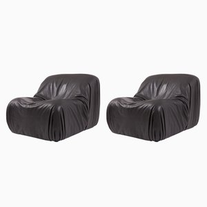 DS 41 Black Leather Lounge Chairs from De Sede, 1970s, Set of 2
