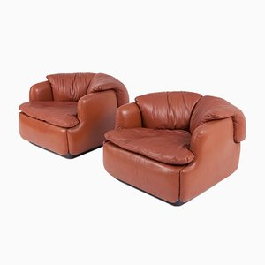 Vintage Confidential Leather Club Chairs by Alberto Rosselli for Saporiti Italia, Set of 2