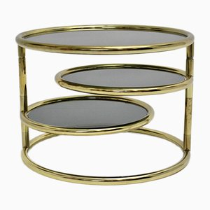 Swiveling Coffee Table in Brass & Smoked Glass, 1970s