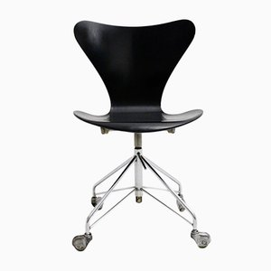 No. 996 Black Swivel Office Chair by Arne Jacobsen for Fritz Hansen, 1950s