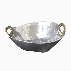 Brutalist Aluminium & Brass Bowl by David Marshall, 1970s