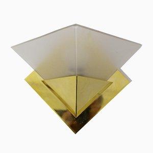 Messing & Glas Wandlampe, 1970er