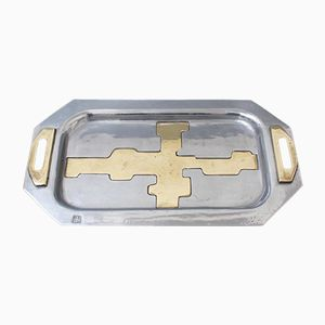 Brutalist Aluminium & Brass Tray by David Marshall, 1970s