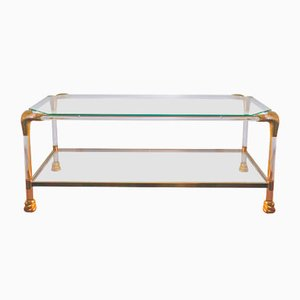 Lucite & Brass Coffee Table with Snake Head Decor, 1960s