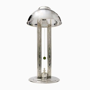 Lampada da tavolo in ottone argentato, anni '20
